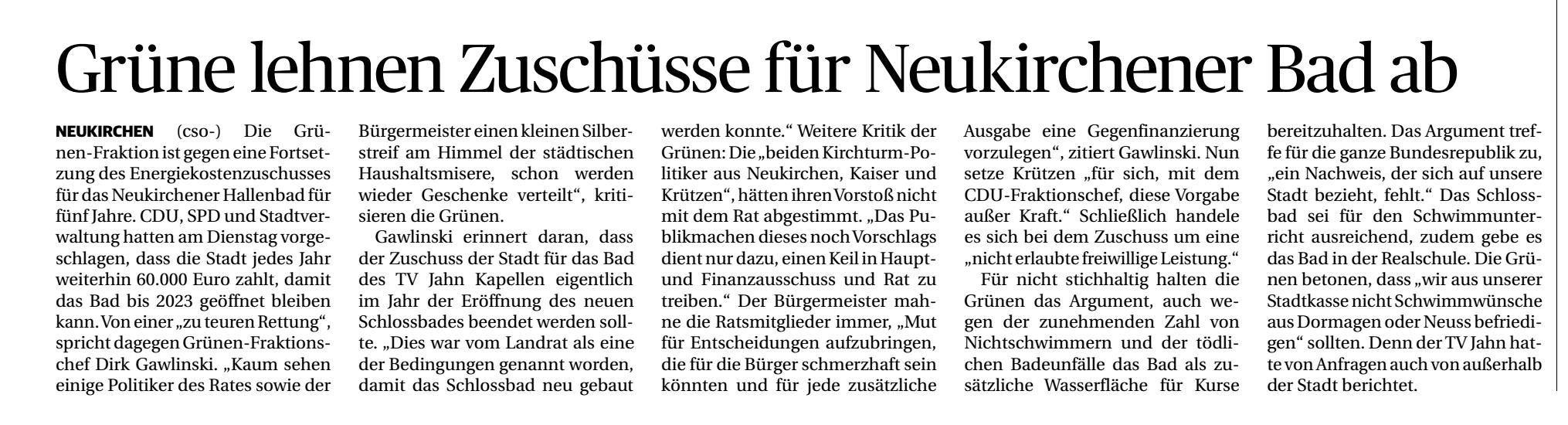 Zu teure Rettung des Schwimmbads in Neukirchen